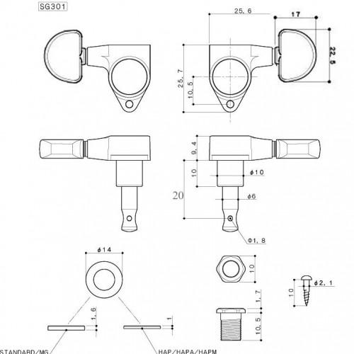 ลูกบิด GOTOH® SG301-20G L3R3