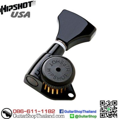 ลูกบิดล็อคสาย Hipshot® 3+3 Grip-Lock™ Black
