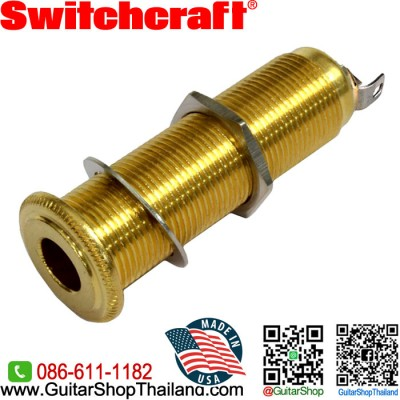 แจ็คหลอด Switchcraft® 3Pole Barrel Stereo Gold