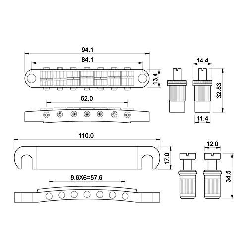 หย่องกีตาร์ 7-String Tune-O-Matic Bridge Black