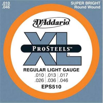 สายกีตาร์ไฟฟ้า D'Addario EPS510 ProSteels Regular Light 10-46